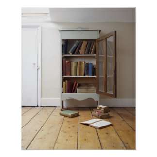 Cupboard full of books. poster