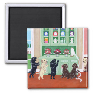 Cupboard Labrador Puppies 2 Inch Square Magnet