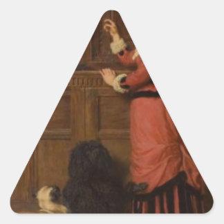Cupboard Love by Briton Riviere Triangle Sticker