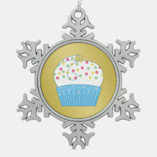Cupcake 1 snowflake pewter christmas ornament