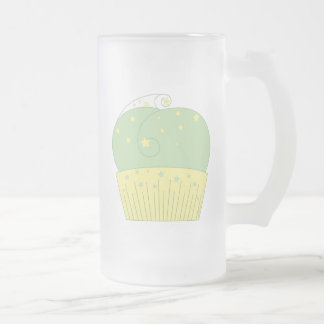 Cupcake 2 Green Yellow Stars Frosted Glass Beer Mug