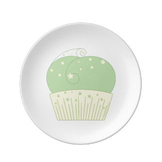 Cupcake 2 Green Yellow Stars Porcelain Plate