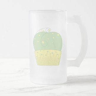 Cupcake 2 Green Yellow Stars Beer Mugs