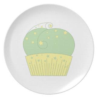 Cupcake 2 Green Yellow Stars Plates