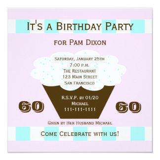 """Cupcake 60th Birthday Party Invitation, 60 Cupcake 5.25"""" Square Invitation Card"""