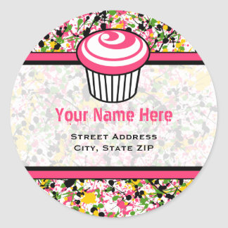 Cupcake Address Label - Multicolor Paint Splatter
