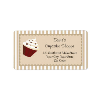 Cupcake Address Labels, Soft Mocha Stripes Label