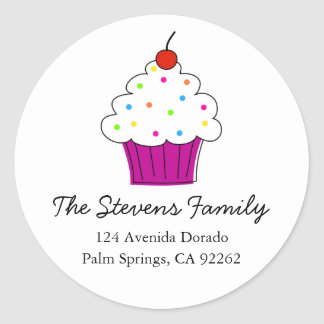 Cupcake Address Labels Round Stickers