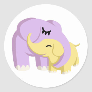 Cupcake and Butters the Elephants Classic Round Sticker