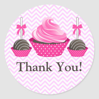 Cupcake and Cake Pops Bakery Thank You Classic Round Sticker