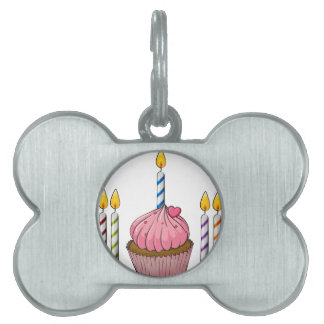 cupcake and candles pet name tag