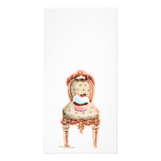 Cupcake and Chair vintage Style Photo Card