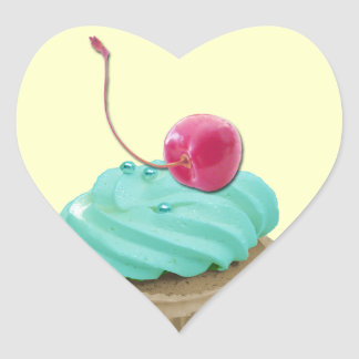 Cupcake and Cherry Heart Sticker