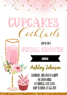 cupcake and cocktails party invitation