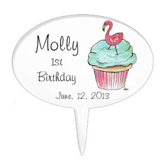 Cupcake and Flamingo Custom Personalized Cake Pick