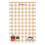 Cupcake and Gingham Personalized Stationery