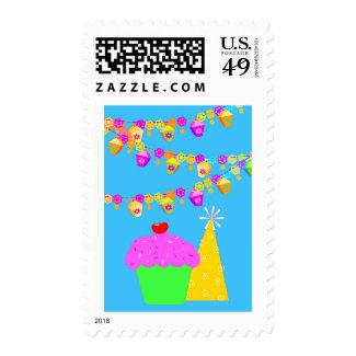 Cupcake And Hat Postage