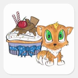 Cupcake and Kitten Square Sticker