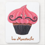 Cupcake and La Moustache Mouse Pad