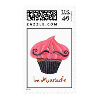 Cupcake and La Moustache Postage Stamps
