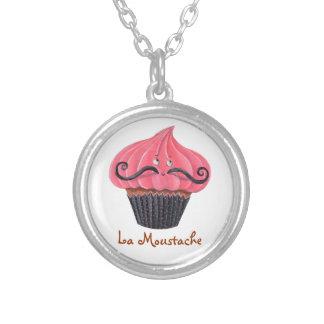 Cupcake and La Moustache Round Pendant Necklace