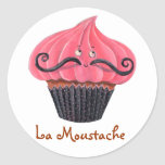 Cupcake and La Moustache Round Stickers