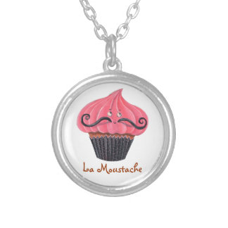 Cupcake and La Moustache Silver Plated Necklace