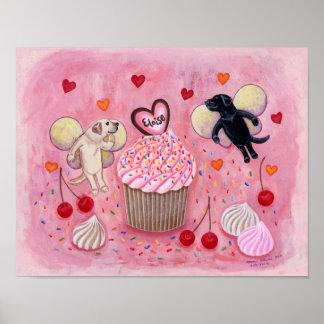 Cupcake and Labrador Fairies Artwork Poster