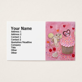 Cupcake and Labrador Fairies Painting Business Card