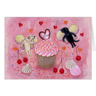 Cupcake and Labrador Fairies Painting Greeting Card