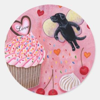 Cupcake and Labrador Fairies Painting Classic Round Sticker