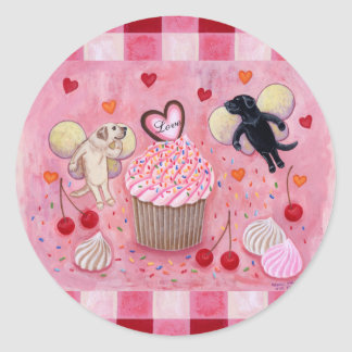 Cupcake and Labrador Fairies Painting gingham Classic Round Sticker