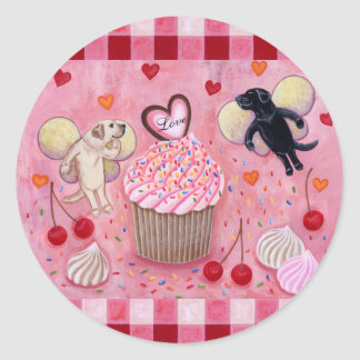 Cupcake and Labrador Fairies Painting gingham Stickers