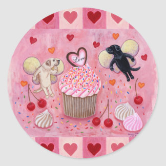 Cupcake and Labrador Fairies Painting Hearts Classic Round Sticker