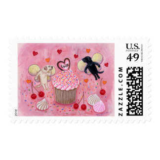 Cupcake and Labrador Fairies Painting Postage Stamps