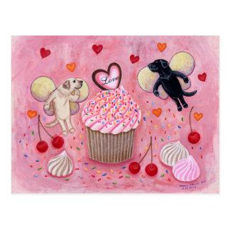 Cupcake and Labrador Fairies Painting Postcard