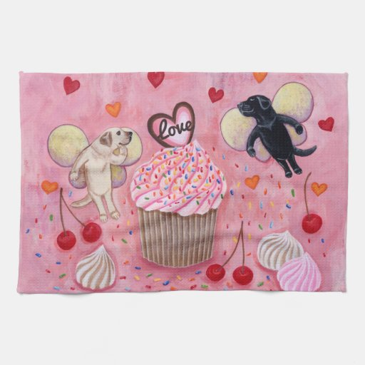 Cupcake and Labrador Fairies Painting Towel
