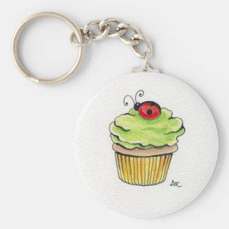 Cupcake and Ladybug Basic Round Button Keychain