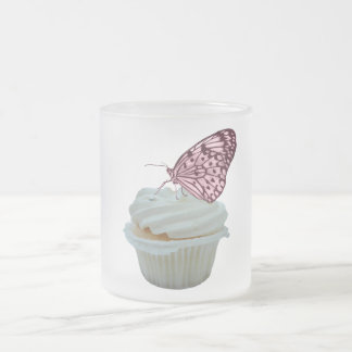 Cupcake and pink butterfly frosted glass coffee mug