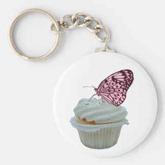Cupcake and pink butterfly key chain