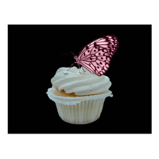Cupcake and pink butterfly postcards