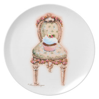 Cupcake and pink roses decorative plate