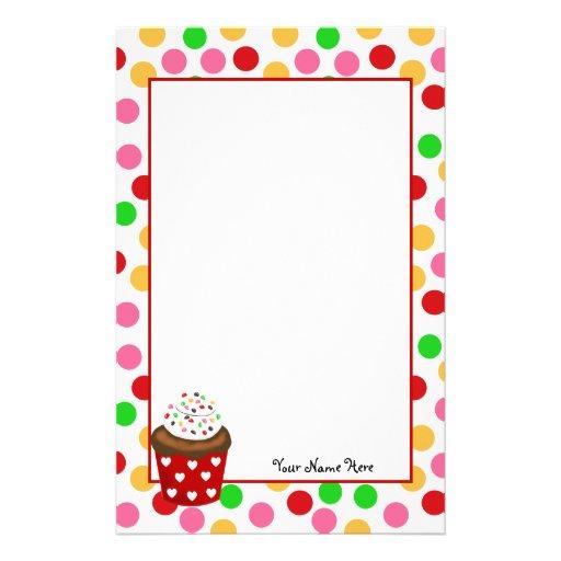 Cupcake and Polka Dot Stationery Paper