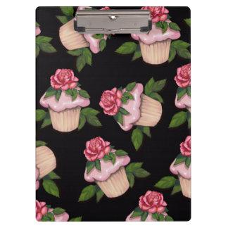 Cupcake and Roses, Black Background, Original Art Clipboard