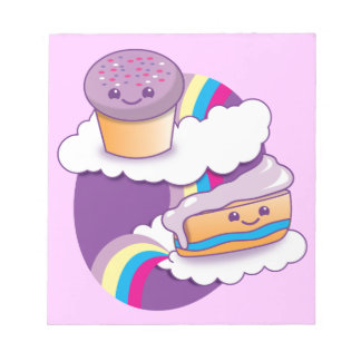 Cupcake and slice on a rainbow notepad