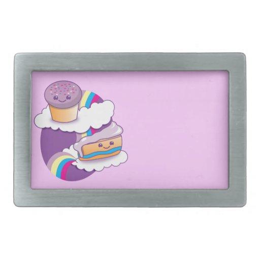 Cupcake and slice on a rainbow rectangular belt buckle