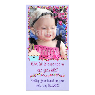 Cupcake and Sprinkles Birthday Photo Card