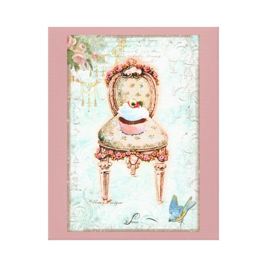 Cupcake and Victorian Chair Canvas Print