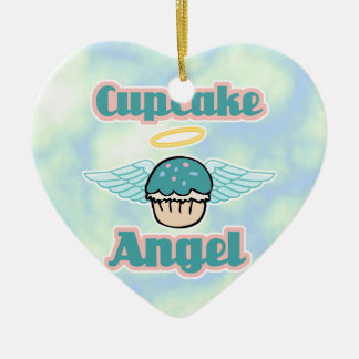 cupcake angel ceramic ornament