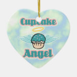 cupcake angel Double-Sided heart ceramic christmas ornament